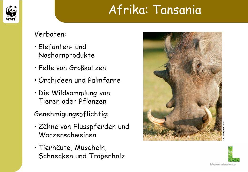 Afrika: Tansania Verboten: Elefanten- und Nashornprodukte Felle von Großkatzen Orchideen und Palmfarne Die Wildsammlung von Tieren oder Pflanzen Geneh