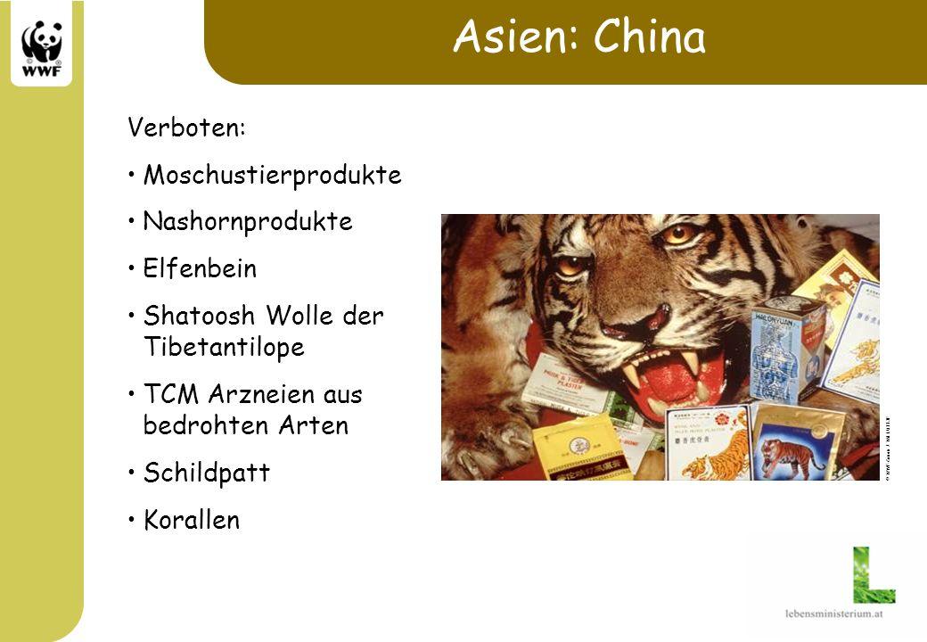 Asien: China Verboten: Moschustierprodukte Nashornprodukte Elfenbein Shatoosh Wolle der Tibetantilope TCM Arzneien aus bedrohten Arten Schildpatt Kora