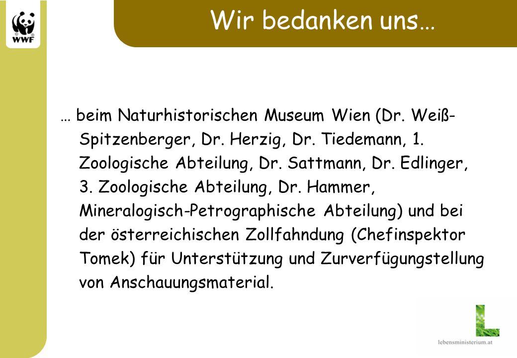 Wir bedanken uns… … beim Naturhistorischen Museum Wien (Dr. Weiß- Spitzenberger, Dr. Herzig, Dr. Tiedemann, 1. Zoologische Abteilung, Dr. Sattmann, Dr