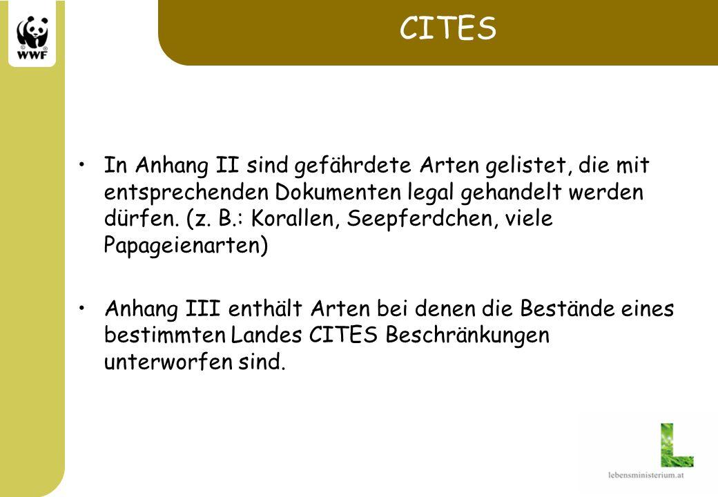 EU-Verordnungen Die Arten der drei Cites Anhänge sind in die Anhänge A-C der entsprechenden EU Verordnung Nr.