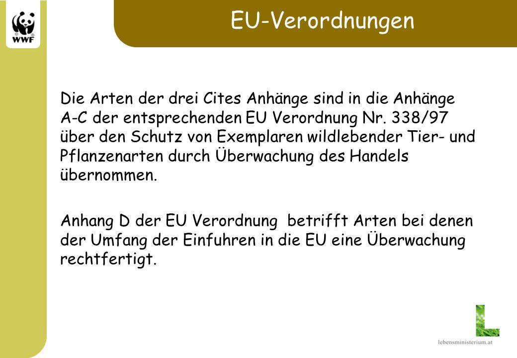 EU-Verordnungen Die Arten der drei Cites Anhänge sind in die Anhänge A-C der entsprechenden EU Verordnung Nr. 338/97 über den Schutz von Exemplaren wi