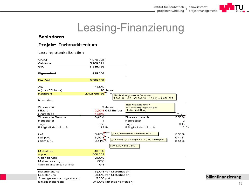 Professor Horst Cerjak, 19.12.2005 13 LV Bau- und Immobilienfinanzierung Leasing-Finanzierung