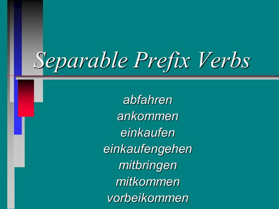 Separable Prefix Verbs abfahrenankommeneinkaufeneinkaufengehenmitbringenmitkommenvorbeikommen