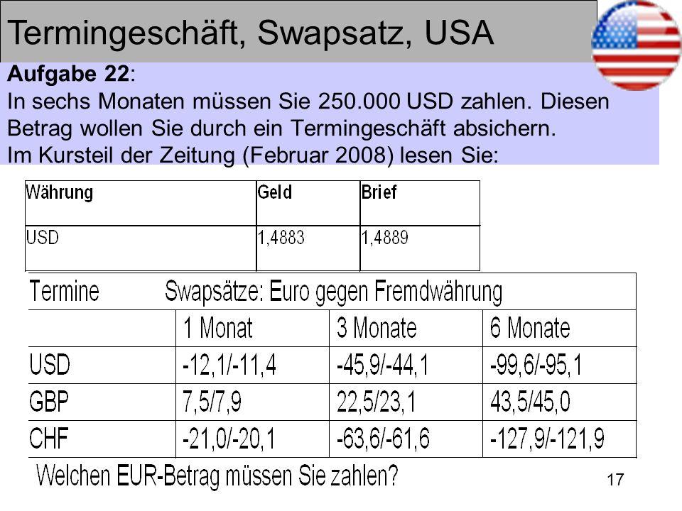 17 Termingeschäft, Swapsatz, USA Aufgabe 22: In sechs Monaten müssen Sie 250.000 USD zahlen. Diesen Betrag wollen Sie durch ein Termingeschäft absiche