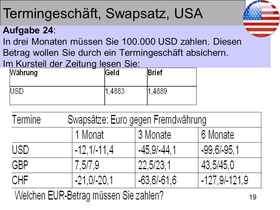 19 Termingeschäft, Swapsatz, USA Aufgabe 24: In drei Monaten müssen Sie 100.000 USD zahlen. Diesen Betrag wollen Sie durch ein Termingeschäft absicher