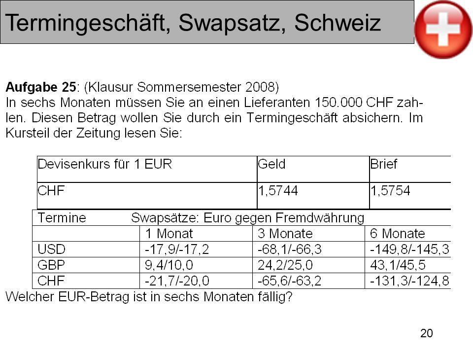 20 Termingeschäft, Swapsatz, Schweiz