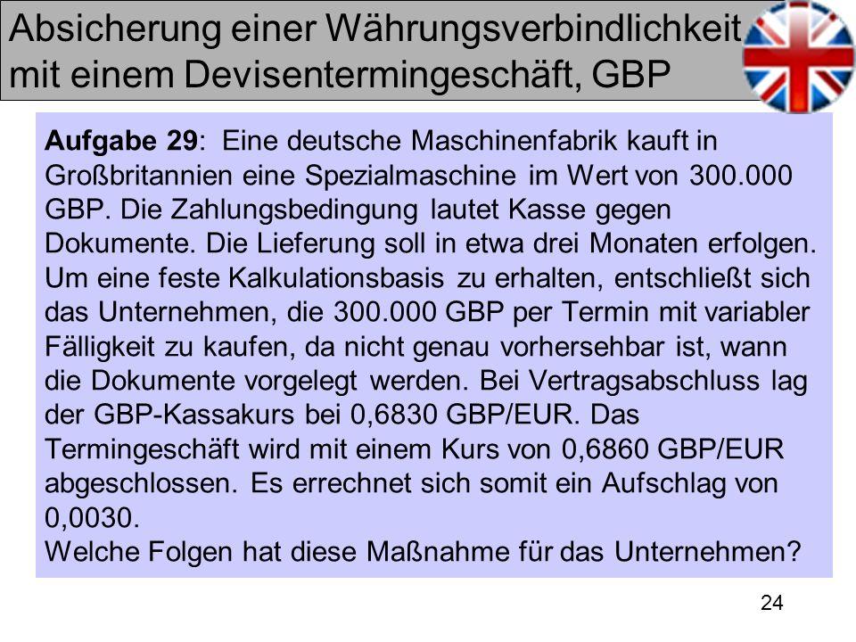 24 Absicherung einer Währungsverbindlichkeit mit einem Devisentermingeschäft, GBP Aufgabe 29: Eine deutsche Maschinenfabrik kauft in Großbritannien ei