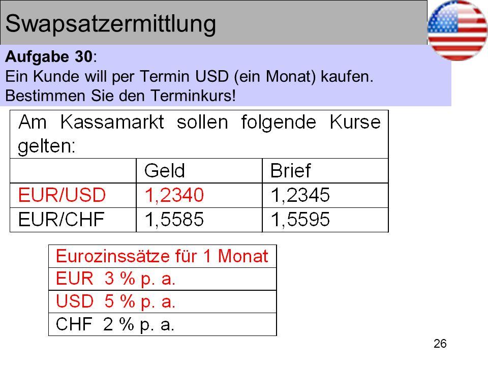 26 Swapsatzermittlung Aufgabe 30: Ein Kunde will per Termin USD (ein Monat) kaufen. Bestimmen Sie den Terminkurs!