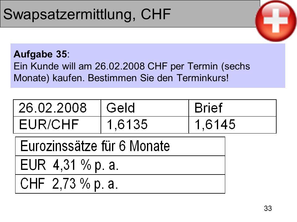 33 Swapsatzermittlung, CHF Aufgabe 35: Ein Kunde will am 26.02.2008 CHF per Termin (sechs Monate) kaufen. Bestimmen Sie den Terminkurs!