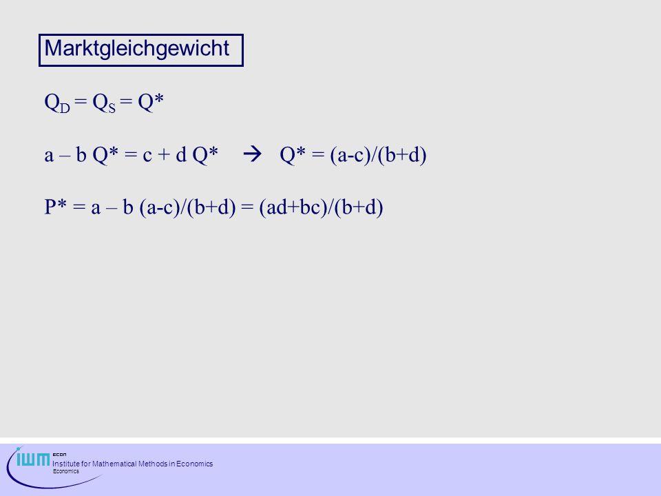 Institute for Mathematical Methods in Economics Economics Marktgleichgewicht Q D = Q S = Q* a – b Q* = c + d Q* Q* = (a-c)/(b+d) P* = a – b (a-c)/(b+d