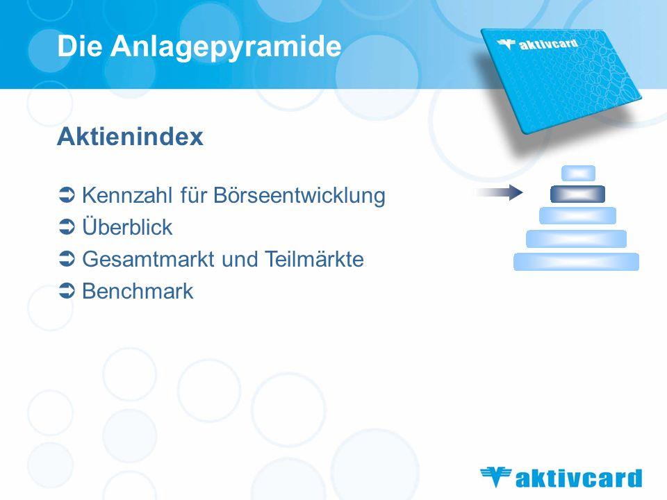Aktienindex Kennzahl für Börseentwicklung Überblick Gesamtmarkt und Teilmärkte Benchmark Die Anlagepyramide