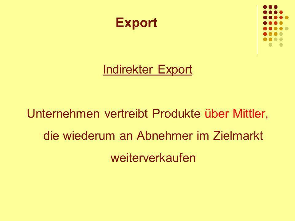 Indirekter Export Unternehmen vertreibt Produkte über Mittler, die wiederum an Abnehmer im Zielmarkt weiterverkaufen Export