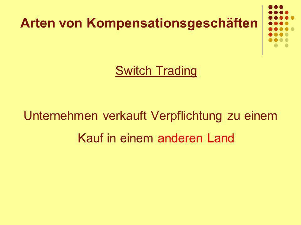 Switch Trading Unternehmen verkauft Verpflichtung zu einem Kauf in einem anderen Land Arten von Kompensationsgeschäften