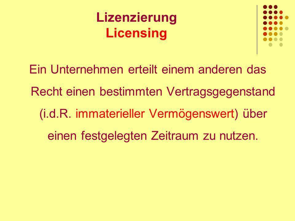 Lizenzierung Licensing Ein Unternehmen erteilt einem anderen das Recht einen bestimmten Vertragsgegenstand (i.d.R.