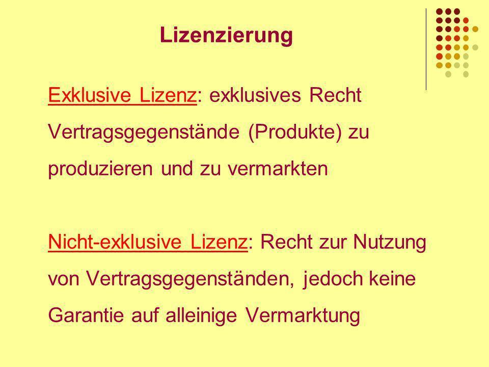 Lizenzierung Exklusive Lizenz: exklusives Recht Vertragsgegenstände (Produkte) zu produzieren und zu vermarkten Nicht-exklusive Lizenz: Recht zur Nutzung von Vertragsgegenständen, jedoch keine Garantie auf alleinige Vermarktung