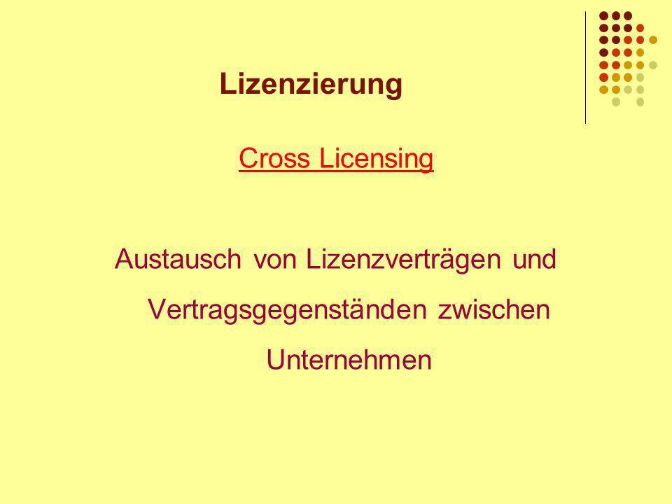 Lizenzierung Cross Licensing Austausch von Lizenzverträgen und Vertragsgegenständen zwischen Unternehmen