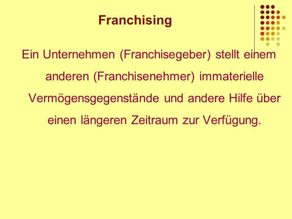 Franchising Ein Unternehmen (Franchisegeber) stellt einem anderen (Franchisenehmer) immaterielle Vermögensgegenstände und andere Hilfe über einen längeren Zeitraum zur Verfügung.