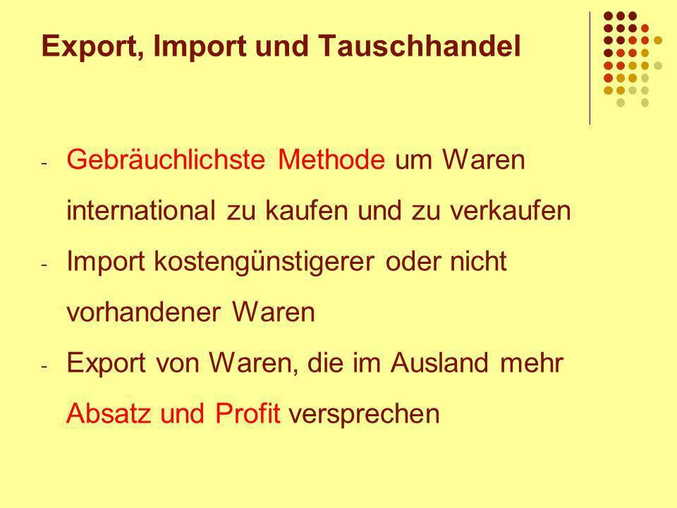Export, Import und Tauschhandel - Gebräuchlichste Methode um Waren international zu kaufen und zu verkaufen - Import kostengünstigerer oder nicht vorhandener Waren - Export von Waren, die im Ausland mehr Absatz und Profit versprechen