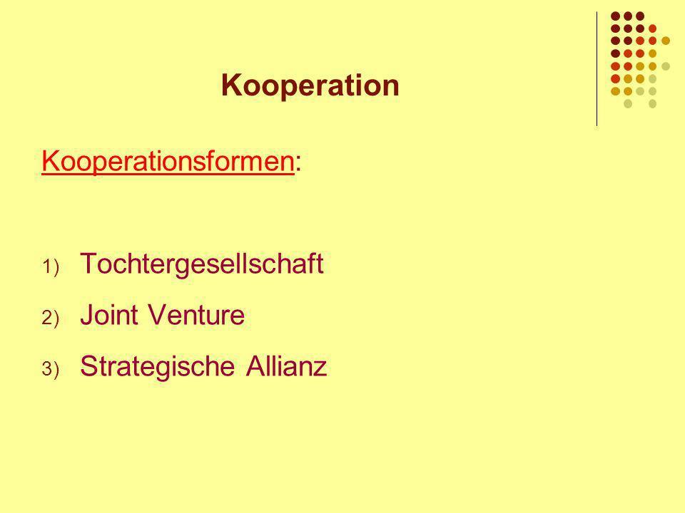 Kooperation Kooperationsformen: 1) Tochtergesellschaft 2) Joint Venture 3) Strategische Allianz