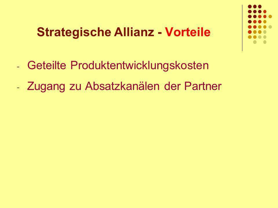 Strategische Allianz - Vorteile - Geteilte Produktentwicklungskosten - Zugang zu Absatzkanälen der Partner