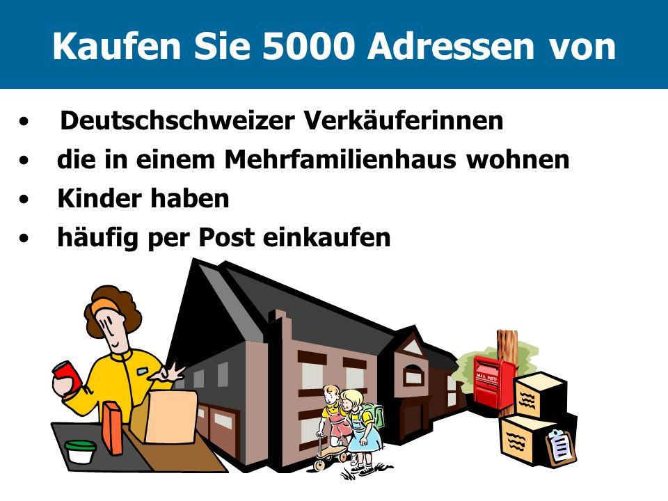 Kaufen Sie 5000 Adressen von die in einem Mehrfamilienhaus wohnen häufig per Post einkaufen Kinder haben Deutschschweizer Verkäuferinnen