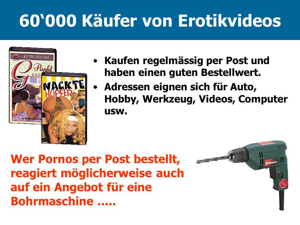 60000 Käufer von Erotikvideos Kaufen regelmässig per Post und haben einen guten Bestellwert. Adressen eignen sich für Auto, Hobby, Werkzeug, Videos, C