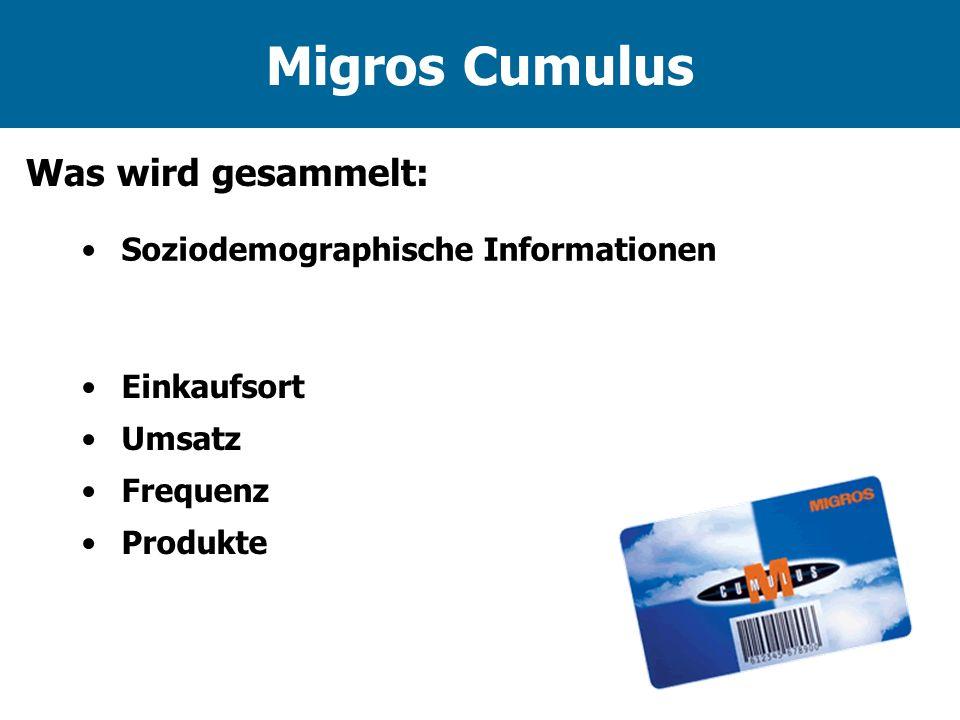 Migros Cumulus Was wird gesammelt: Soziodemographische Informationen Einkaufsort Umsatz Frequenz Produkte