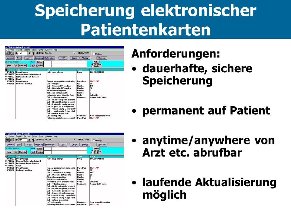 Speicherung elektronischer Patientenkarten Anforderungen: dauerhafte, sichere Speicherung permanent auf Patient anytime/anywhere von Arzt etc.