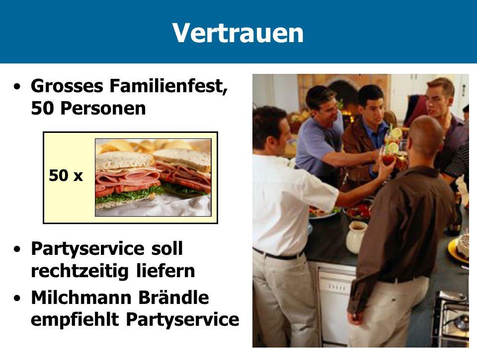 Vertrauen Grosses Familienfest, 50 Personen 50 x Partyservice soll rechtzeitig liefern Milchmann Brändle empfiehlt Partyservice