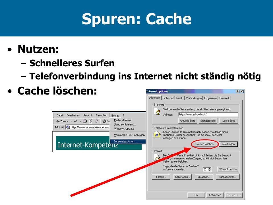 Spuren: Cache Nutzen: –Schnelleres Surfen –Telefonverbindung ins Internet nicht ständig nötig Cache löschen: