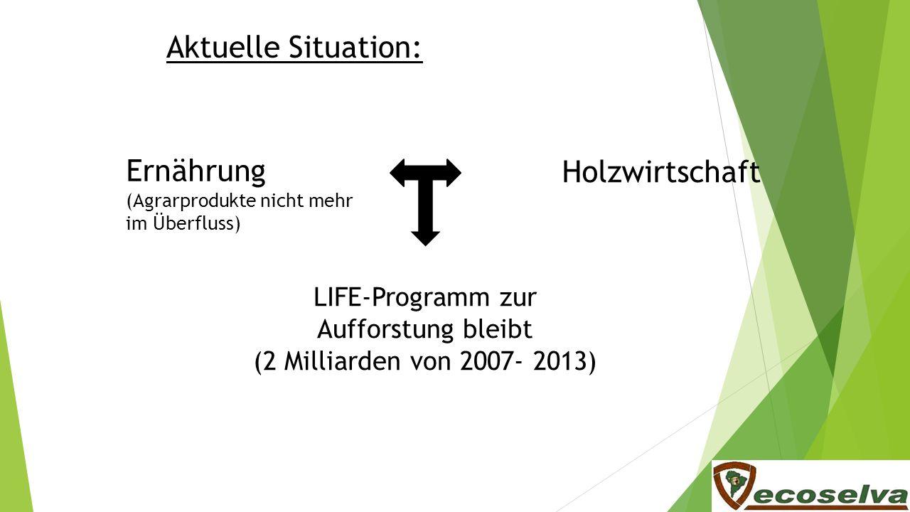 Aktuelle Situation: Ernährung (Agrarprodukte nicht mehr im Überfluss) Holzwirtschaft LIFE-Programm zur Aufforstung bleibt (2 Milliarden von 2007- 2013