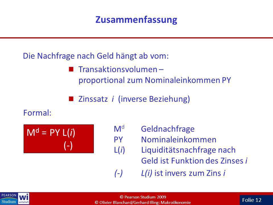 Folie 12 Zusammenfassung M d Geldnachfrage M d = PY L(i) (-) L(i)Liquiditätsnachfrage nach Geld ist Funktion des Zinses i PY Nominaleinkommen (-) L(i)