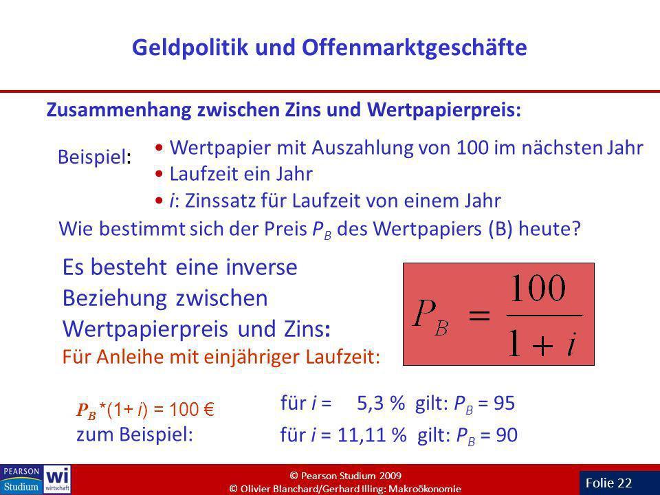 Folie 22 Geldpolitik und Offenmarktgeschäfte Zusammenhang zwischen Zins und Wertpapierpreis: Beispiel : Wertpapier mit Auszahlung von 100 im nächsten