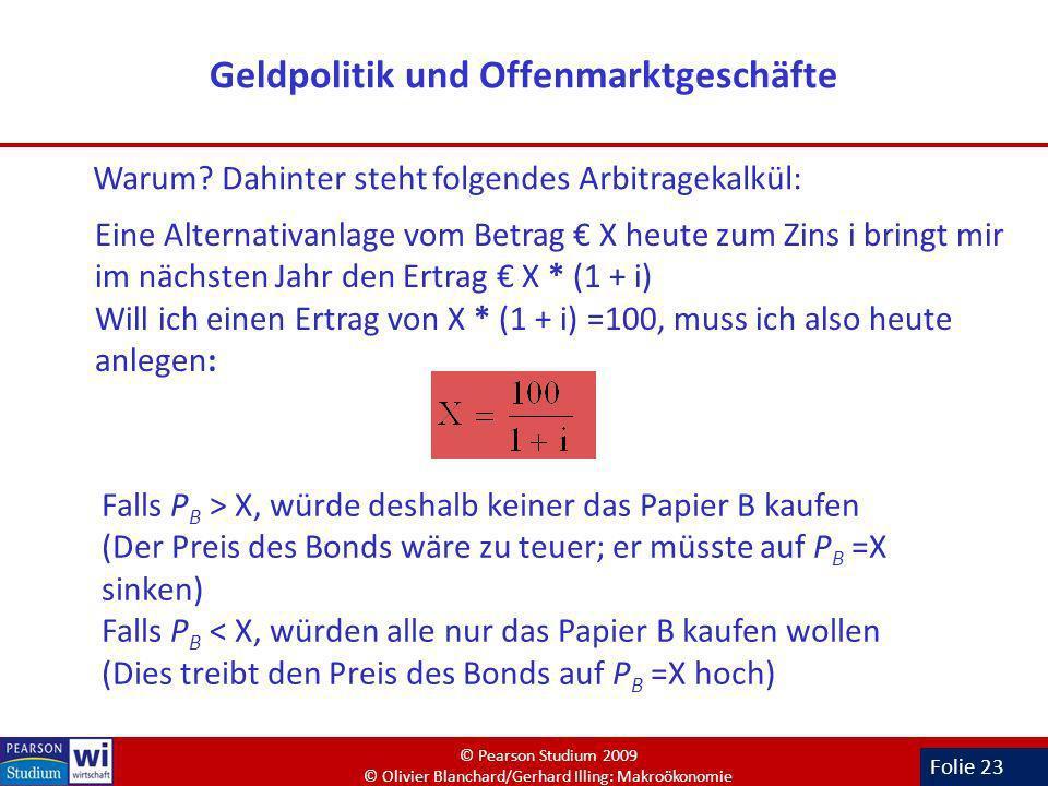 Folie 23 Geldpolitik und Offenmarktgeschäfte Warum? Dahinter steht folgendes Arbitragekalkül: Eine Alternativanlage vom Betrag X heute zum Zins i brin