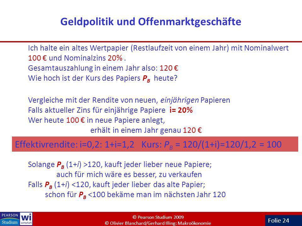 Folie 24 Geldpolitik und Offenmarktgeschäfte Ich halte ein altes Wertpapier (Restlaufzeit von einem Jahr) mit Nominalwert 100 und Nominalzins 20%. Ges