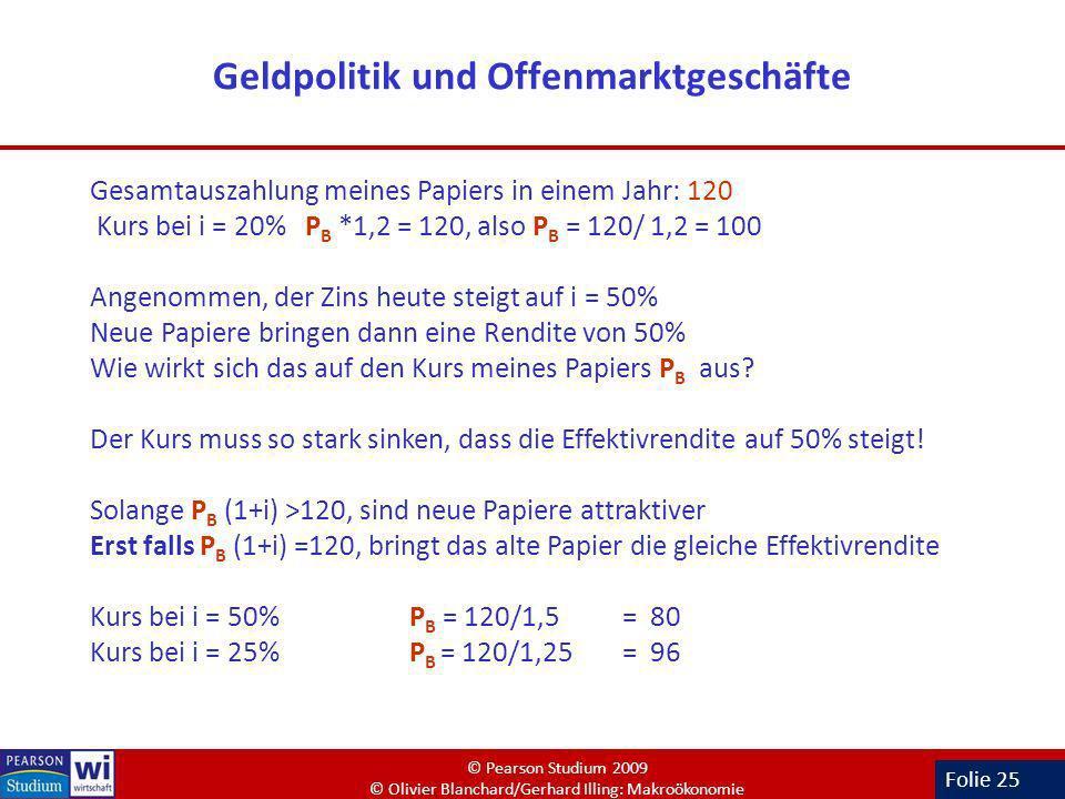Folie 25 Geldpolitik und Offenmarktgeschäfte Gesamtauszahlung meines Papiers in einem Jahr: 120 Kurs bei i = 20% P B *1,2 = 120, also P B = 120/ 1,2 =