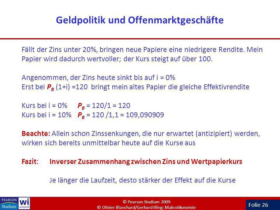 Folie 26 Geldpolitik und Offenmarktgeschäfte Fällt der Zins unter 20%, bringen neue Papiere eine niedrigere Rendite. Mein Papier wird dadurch wertvoll