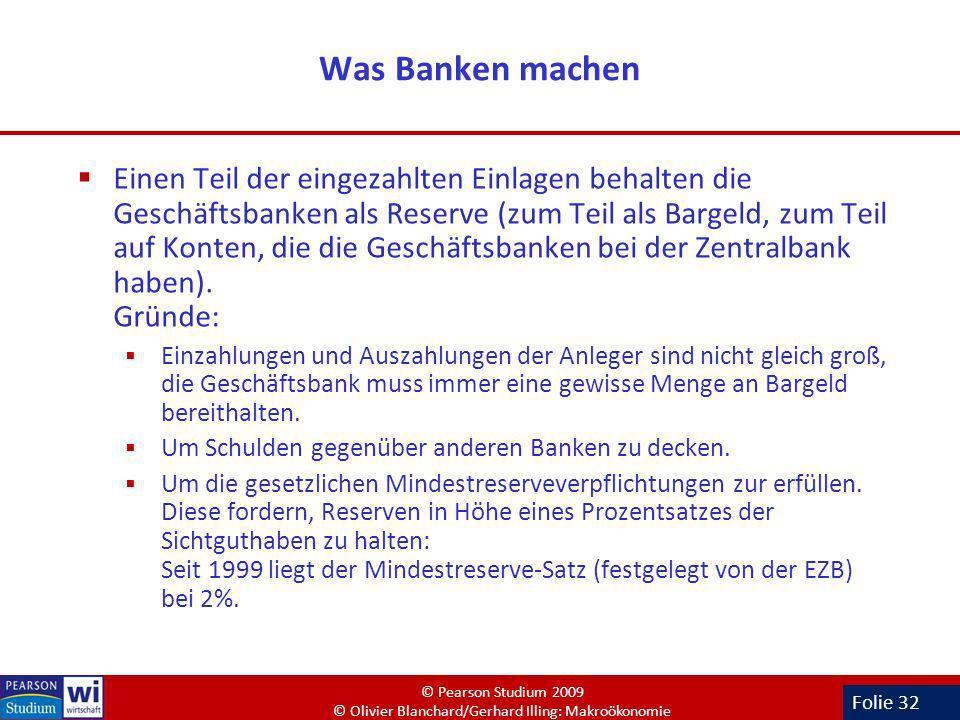 Folie 32 Was Banken machen Einen Teil der eingezahlten Einlagen behalten die Geschäftsbanken als Reserve (zum Teil als Bargeld, zum Teil auf Konten, d