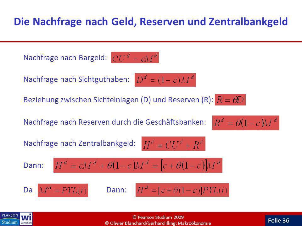 Folie 36 Die Nachfrage nach Geld, Reserven und Zentralbankgeld Nachfrage nach Bargeld: Nachfrage nach Sichtguthaben: Beziehung zwischen Sichteinlagen