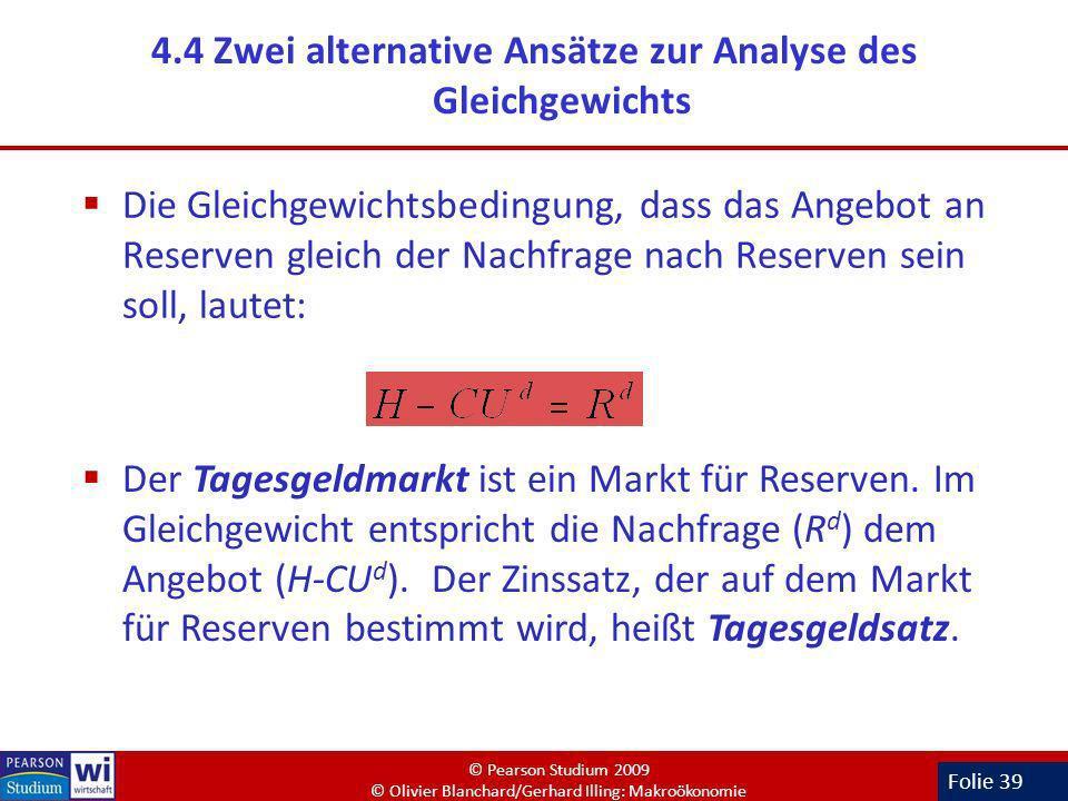 Folie 39 4.4 Zwei alternative Ansätze zur Analyse des Gleichgewichts Die Gleichgewichtsbedingung, dass das Angebot an Reserven gleich der Nachfrage na
