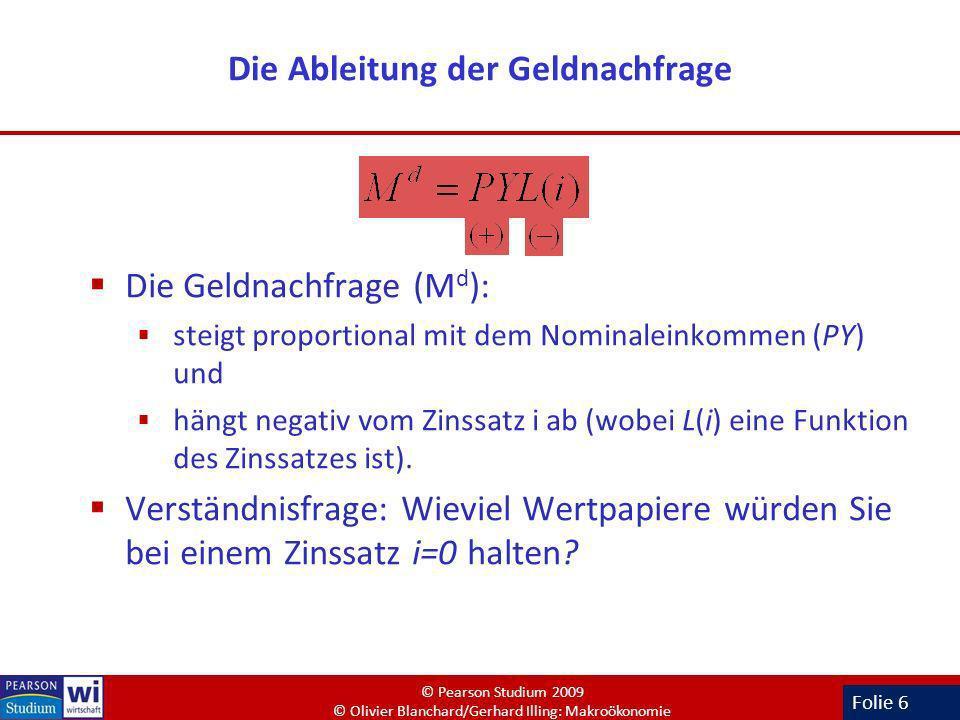 Folie 6 Die Ableitung der Geldnachfrage Die Geldnachfrage (M d ): steigt proportional mit dem Nominaleinkommen (PY) und hängt negativ vom Zinssatz i a