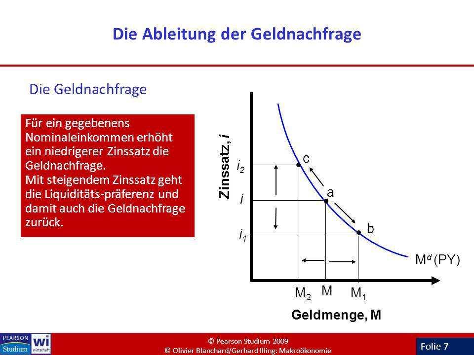 Folie 7 Die Ableitung der Geldnachfrage Für ein gegebenens Nominaleinkommen erhöht ein niedrigerer Zinssatz die Geldnachfrage. Mit steigendem Zinssatz