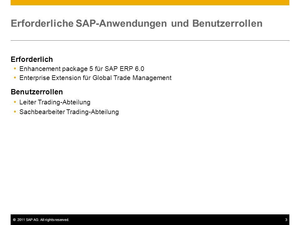 ©2011 SAP AG. All rights reserved.3 Erforderliche SAP-Anwendungen und Benutzerrollen Erforderlich Enhancement package 5 für SAP ERP 6.0 Enterprise Ext