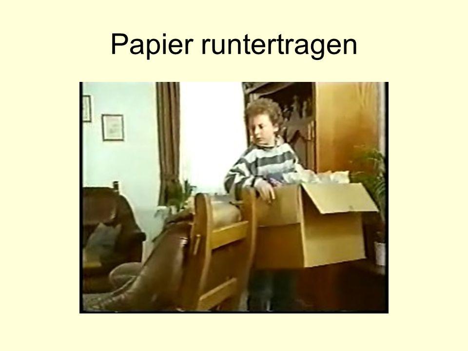 Papier runtertragen