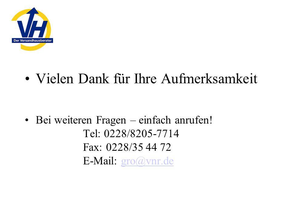 Vielen Dank für Ihre Aufmerksamkeit Bei weiteren Fragen – einfach anrufen! Tel: 0228/8205-7714 Fax: 0228/35 44 72 E-Mail: gro@vnr.degro@vnr.de
