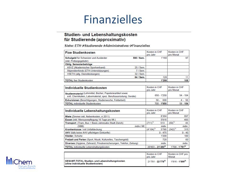 Finanzielles Siehe: ETH Studierende Administratives Finanzielles