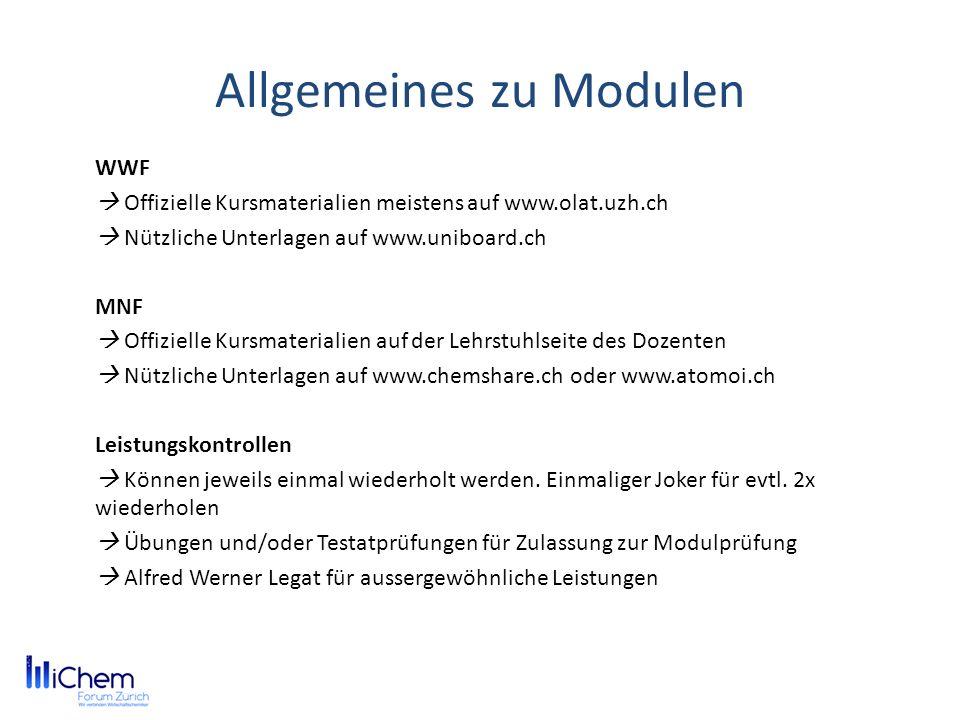 Allgemeines zu Modulen WWF Offizielle Kursmaterialien meistens auf www.olat.uzh.ch Nützliche Unterlagen auf www.uniboard.ch MNF Offizielle Kursmateria