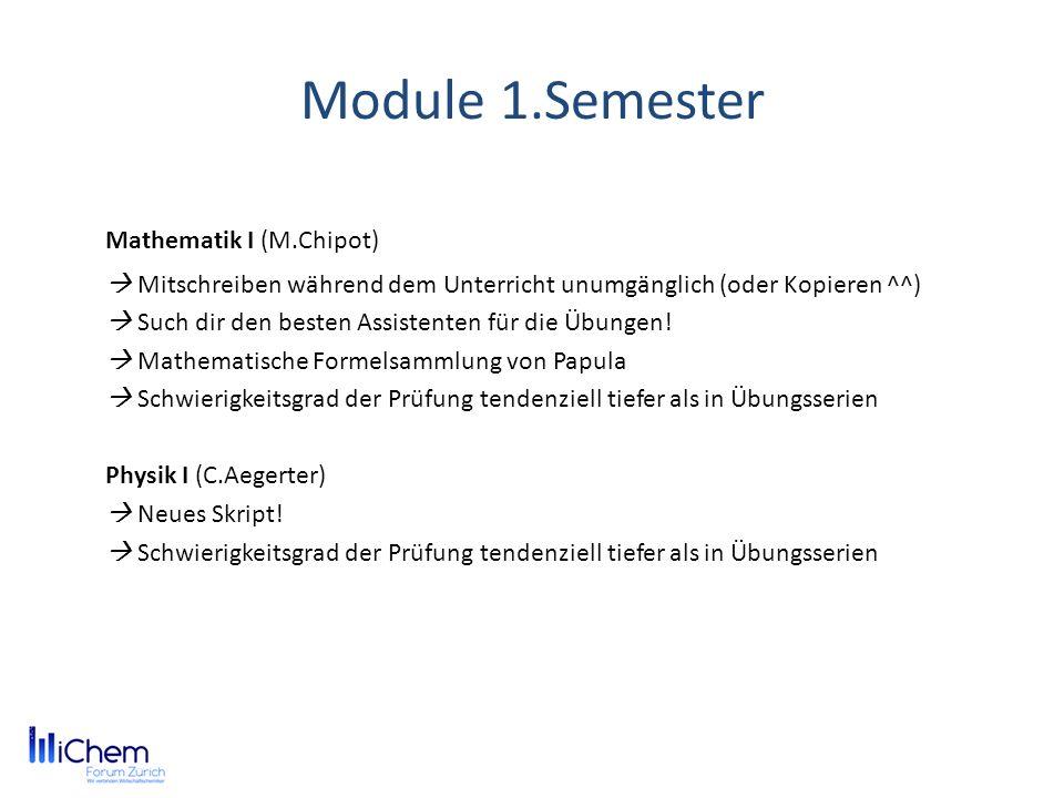 Module 1.Semester Mathematik I (M.Chipot) Mitschreiben während dem Unterricht unumgänglich (oder Kopieren ^^) Such dir den besten Assistenten für die Übungen.