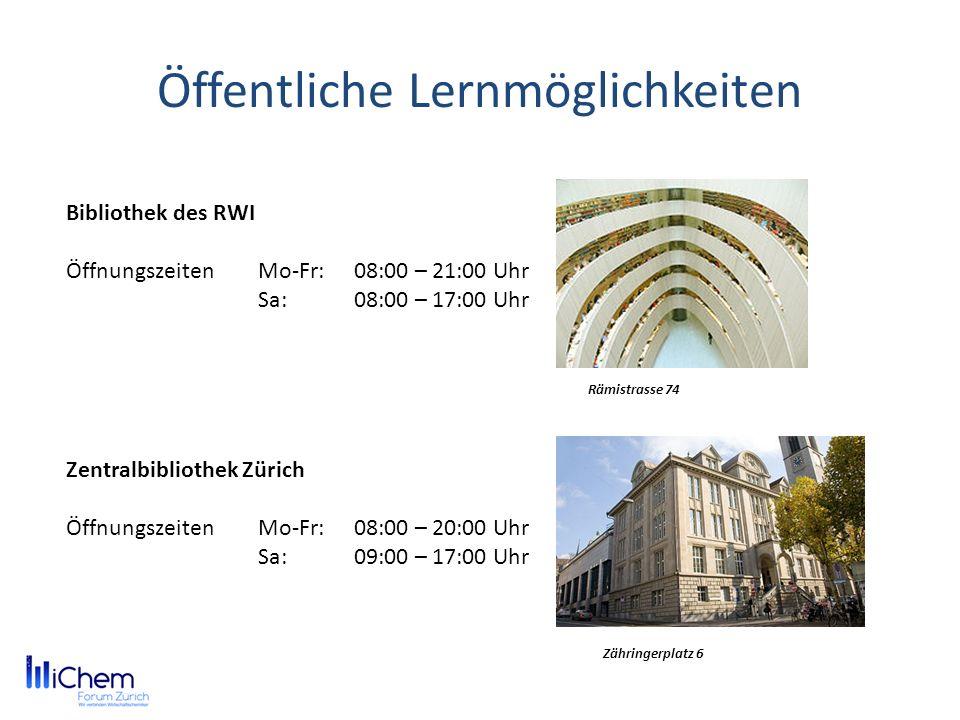 Öffentliche Lernmöglichkeiten Bibliothek des RWI ÖffnungszeitenMo-Fr:08:00 – 21:00 Uhr Sa:08:00 – 17:00 Uhr Rämistrasse 74 Zentralbibliothek Zürich Öf
