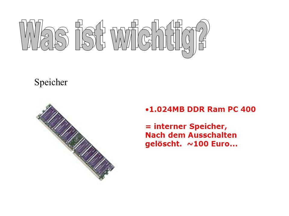 1.024MB DDR Ram PC 400 = interner Speicher, Nach dem Ausschalten gelöscht. ~100 Euro... Speicher